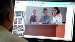 A photo showing Edward Snowden during his meeting with rights activists
