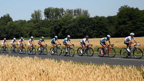 Mark Cavendish (third from right) won stage 13 of the Tour de France to Saint-Amand-Montrond