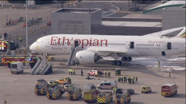 A fire broke out on an Ethiopian Airlines plane in Heathrow Airport