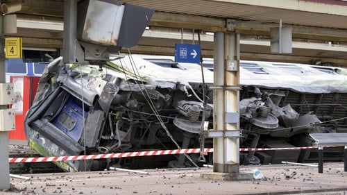 A derailed wagon on the site of the accident in the railway station of Bretigny-sur-Orge
