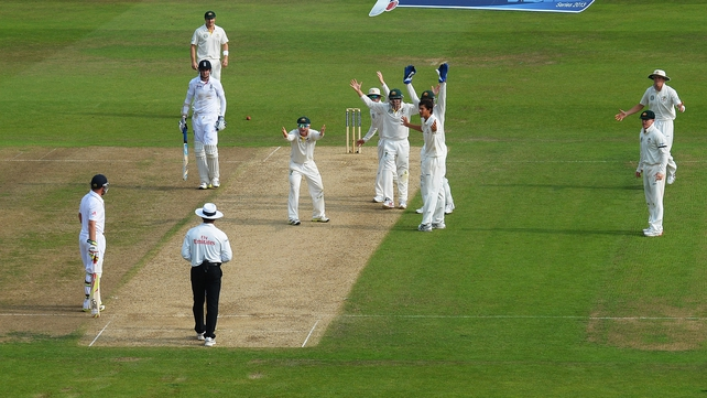 Unsuccessful appeals from Australia for the wicket of Stuart Broad