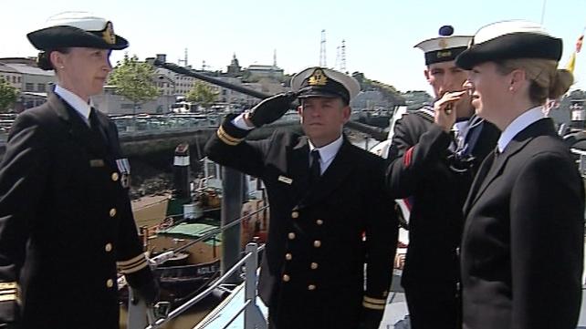Lieutenant Commander Marie Gleeson and Lieutenant Commander Erika Downing