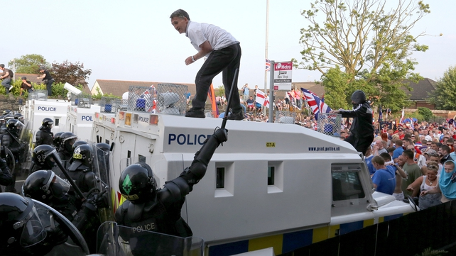 Some loyalist protesters taunted police officers