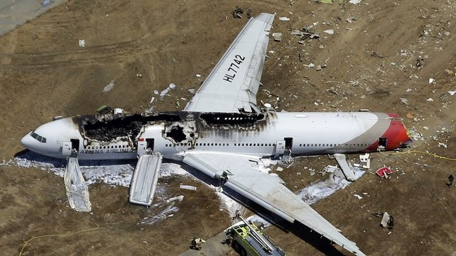 The Boeing 777 hit a seawall as it came in to land at San Francisco