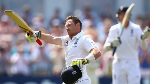 Ian Bell of England celebrates after reaching his century