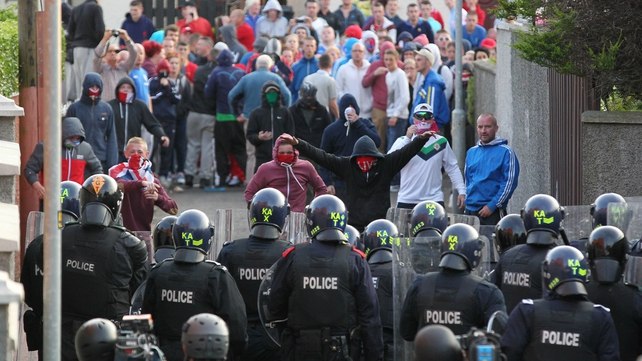 Bricks, bottles and other missiles were also thrown at PSNI officers