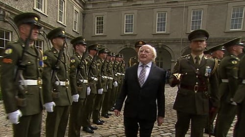 President Michael D Higgins inspected a guard of honour at Kilmainham