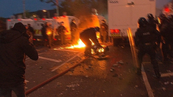 Seven PSNI officers were injured in the riots