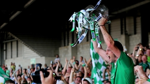 Limerick captain Donal O'Grady lifts the Munster cup in the Gaelic Grounds last July