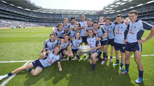Dublin players with the Delaney Cup after their victory over Meath in the 2013 Leinster final