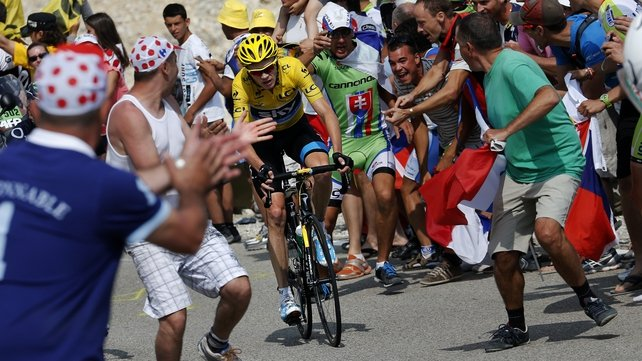 Chris Froome with the yellow jersey in France