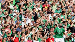 Limerick's Seamus Hickey and supporters in the Gaelic Grounds celebrate during the Munster final against Cork