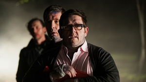 Frost (front) with co-stars Paddy Considine (middle) and Simon Pegg (back) - New movie The World's End in cinemas from Friday