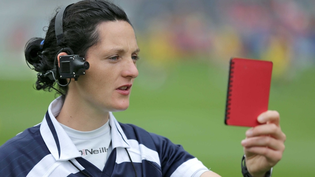 Referee Maggie Farrelly from Cavan models the new RefCam
