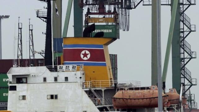 View of North Korean vessel Chong Chon Gang at Manzanillo harbour in Colon, 90km from Panama City