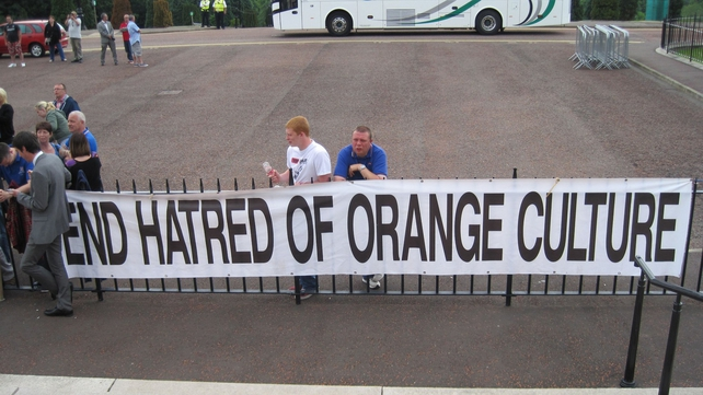 Loyalists staged a protest outside Stormont during the debate yesterday