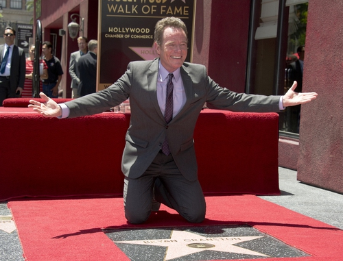Bryan Cranston celebrating the unveiling of his star on Hollywood Boulevard