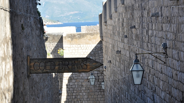 A sign for the Hole in the Wall bar in Dubrovnik