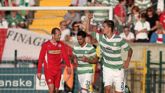 Mikael Lustig opened the scoring for the Bhoys at a sundrenched Solitude