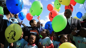 Children gather outside the Mediclinic Heart Hospital in Pretoria