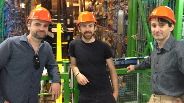 Irish scientists (l-r) Dr James Keaveney, Dr Dermot Moran and Dr Ronan McNulty in the CMS cavern in CERN