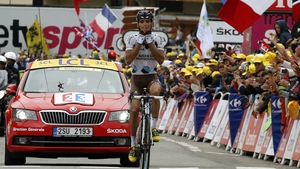 Christophe Riblon overtook Tejay van Garderen in the final kilometres to win the stage