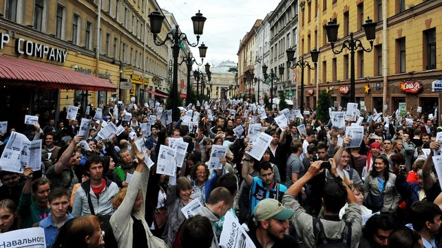 Protests over the jailing of Alexei Navalny took place across Russia, including in St Petersburg