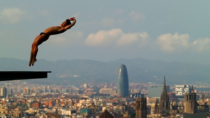 A diver practices in the build up to the FINA world championships in Barcelona