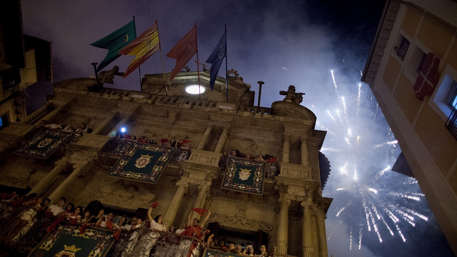 Fireworks explode over Pamplona as part of celebrations to mark the end of the Fiesta San Fermin