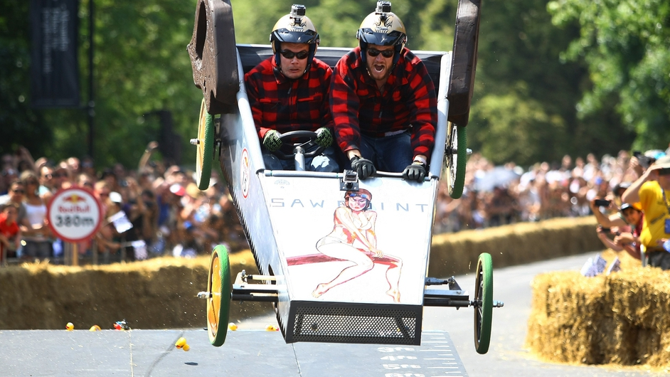 Competitors catch some air during the Red Bull Soapbox Race in London
