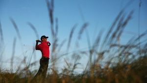 Tiger Woods hits a shot in a practice session before The Open Championship at Muirfield, Scotland