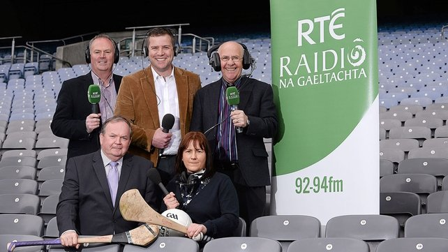 Uachtarán Chumann Lúthchleas Gael Liam Ó Néill, with members of RnaG Sports team Gearóidín Nic an Iomaire, Séamus Mac Géidigh, back left, Dara Ó Cinnéide and Seán Bán Breathnach, back right, pictured in Croke Park