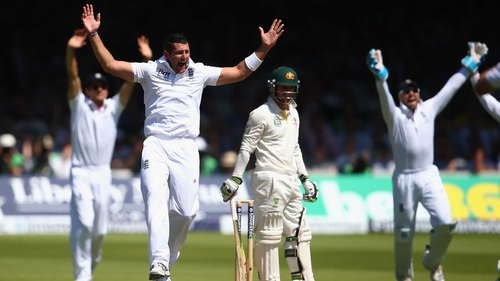 Tim Bresnan celebrates the wicket of Phil Hughes as the Aussie batting collapsed at Lord's