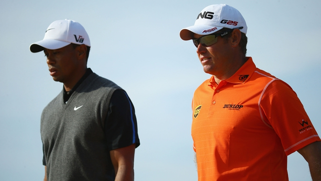 Lee Westwood (r) heads the pack ahead of the final round at Muirfield