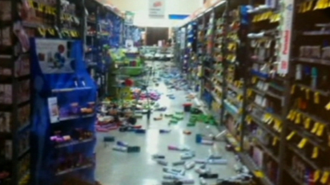 Products were thrown from the shelves in supermarkets during the earthquake