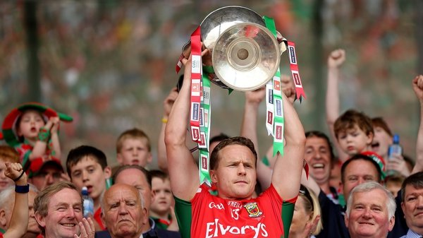 Andy Moran lifts the Nestor Cup after Mayo beat London in last year's final