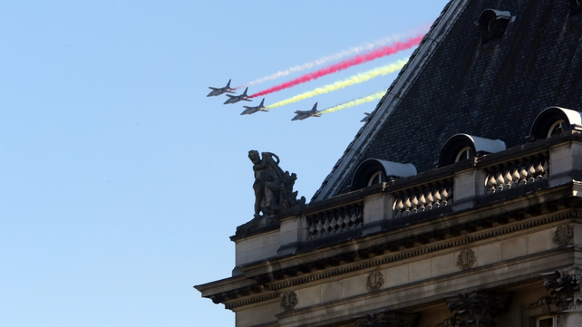 Planes fly over the celebrations during the abdication Of King Albert and the inauguration Of King Philippe
