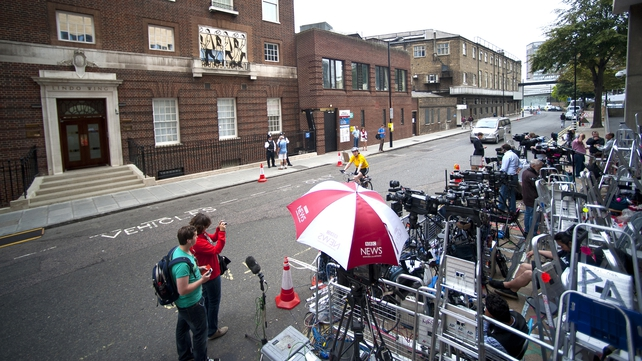 TV crews are positioned opposite The Lindo Wing of St Mary's Hospital, London
