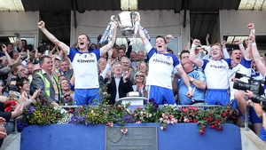 Monaghan players celebrate lifting the Anglo-Celt Cup for the first time in 25 years