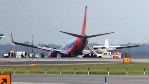 The Southwest Airlines plane on the runway at LaGuardia Airport, New York