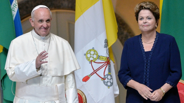 Pope Francis met Brazilian President Dilma Rousseff yesterday