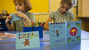 Students in Kate's home town of Buckleburry make cards for the royal baby
