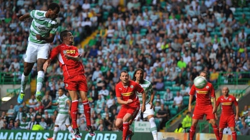 Efe Ambrose scores during the Champions League qualifying round against Cliftonville