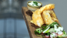 Crispy Fish Goujons with Zingy Fennel and Apple Salad and a Lemon and Dill Dip