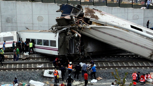 Emergency services are examining the damaged carriages to try to find a cause of the crash