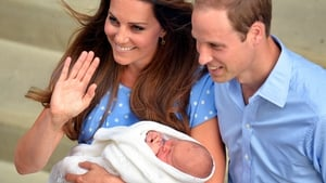 The world's most famous newborn emerges from St Mary's Hospital, London with his parents