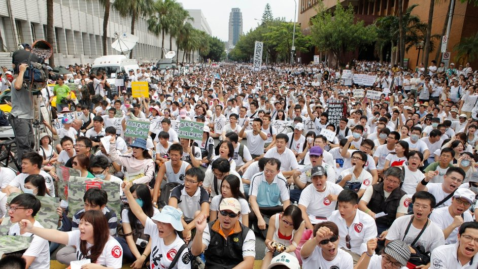 Over 30,000 protestors gather outside Taiwan's Ministry of National Defence in protest at the death of a soldier