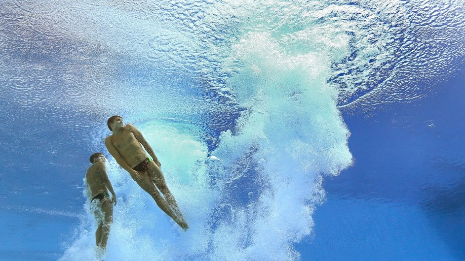 Divers take part in the FINA World Championships in Barcelona, Spain
