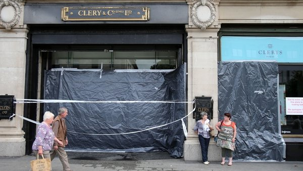 Clerys Department Store is closed today after a part of the roof collapsed