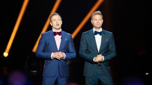 The Hit presenters Aidan Power and Nicky Byrne live on stage last night